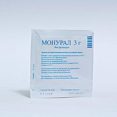 Антибиотик Монурал при цистите